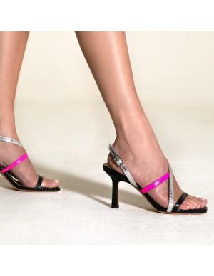 Sandalo nero bicolore