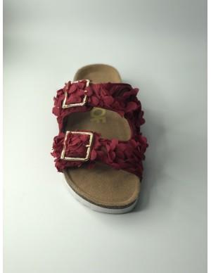 Sandalo in tessuto floreale