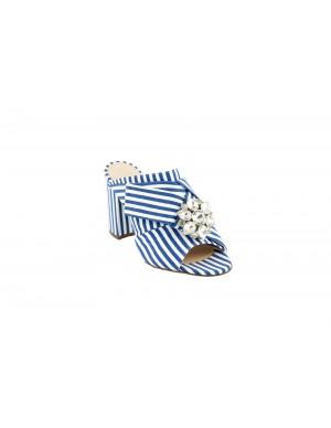 Sabot bianco e strisce blue.