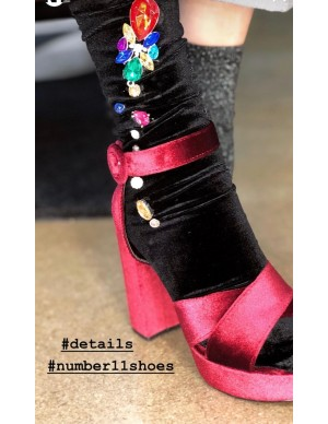 Sandalo zeppa bordeaux