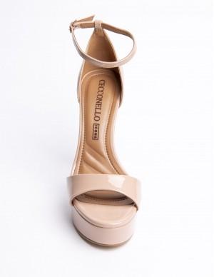 Sandalo nude con plateaux