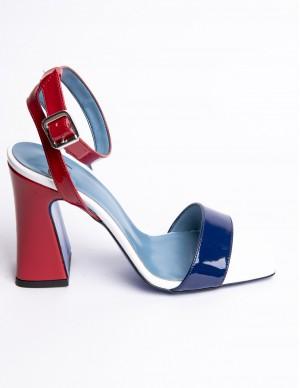 Sandalo blu, rosso e bianco