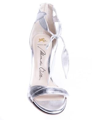 Sandalo in pelle argento