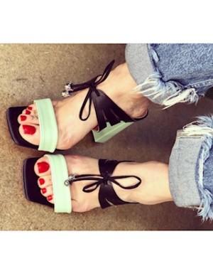 Sandalo mules verde menta
